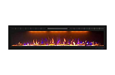 Mystflame 72 inch Electric Fireplace - Ultra Slim Frame - in Wall Recessed & Wall Mounted - Multicolor Flame - Log & Crystal Hearth - 1500/750 Watt Heater - Remote Control & Touch Screen- Timer