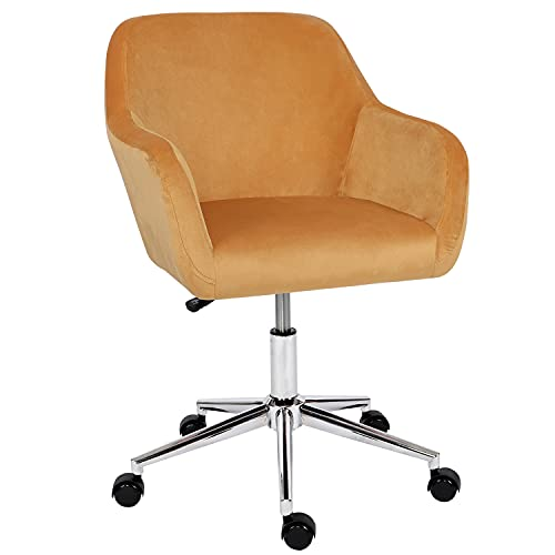 Desk Chair,Velvet Computer Chair Mid Back Office Swivel Chair Executive Chair Adjustable Height Comfy Padded Leisure Chair Armrest Chair,Home/Office Furniture (Yellow)