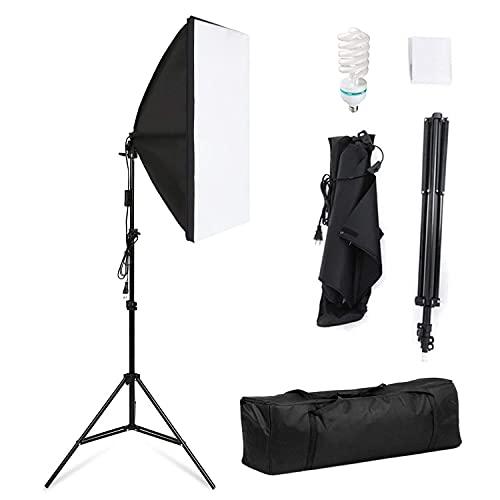 Softbox - Set di luci per studio fotografico, 50 x 70 cm, softbox 5500 K, luce diurna 135 W, treppiedi pieghevole per lampada (Set I)