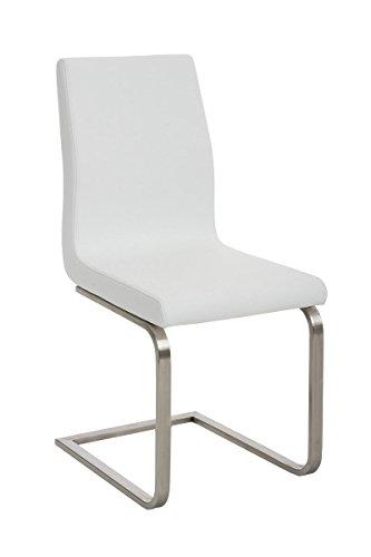 Mendler Sedia da Ufficio a Slitta CP526 Ecopelle Design Moderno 50x40x90cm - Bianco