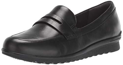 Aravon Women's Josie Penny Loafer Flat, Black Leather, 075 B US