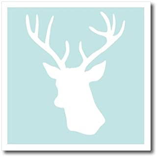 3dRose ht_155672_1 White Deer Head Silhouette on Mint Blue-Stag-Modern Turquoise Aqua-Iron on Heat Transfer Paper for White Material, 8 by 8-Inch