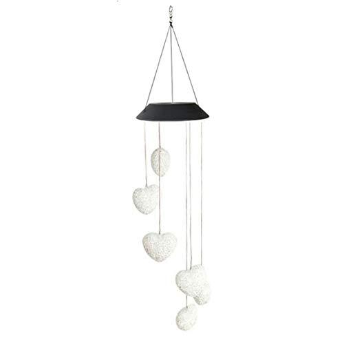Pumprout Lámpara de carillón de Viento de Color Variable Solar 6led Lámpara Colgante Decorativa de jardín en Forma de corazón Cadena de luz Interior