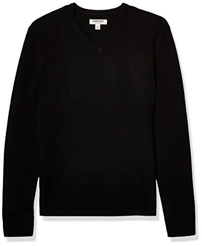 Amazon Brand - Goodthreads Men's Lambswool V-Neck Sweater, Black Medium