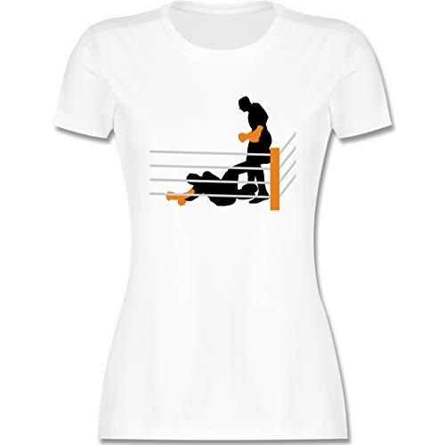 Kampfsport - Boxer am Boden K.O. geschlagen - XXL - Weiß - Boxer - L191 - Tailliertes Tshirt für Damen und Frauen T-Shirt
