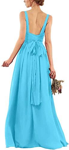 Snow Lotus Vestido de dama de honor con correa de espagueti de gasa para mujer una línea larga formal vestido de baile