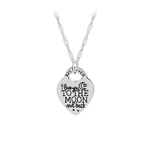 Ogquaton Ich Liebe Dich bis zum Mond und zurück Liebe Herz Brief Anhänger Halskette mit Kette Frauen Geschenk Beste Wahl