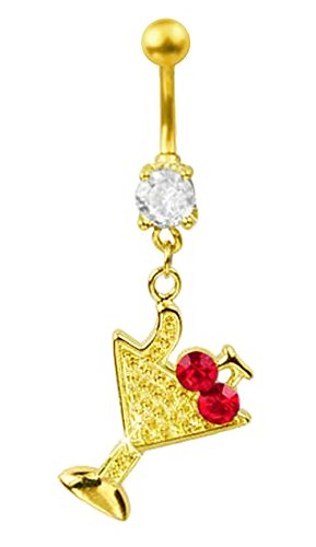 Gold Clear gem red Cherry Cocktail Martini drink gold plated Belly button navel Ring piercing bar body jewelry 14g