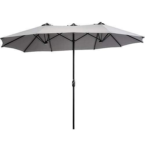 of extra large patio umbrellas SUPERJARE 14 Ft Outdoor Patio Umbrella with 1.89 Inches Pole Caliber, Extra Large Double-Sided Design with Crank, Polyester Fabric - Gray