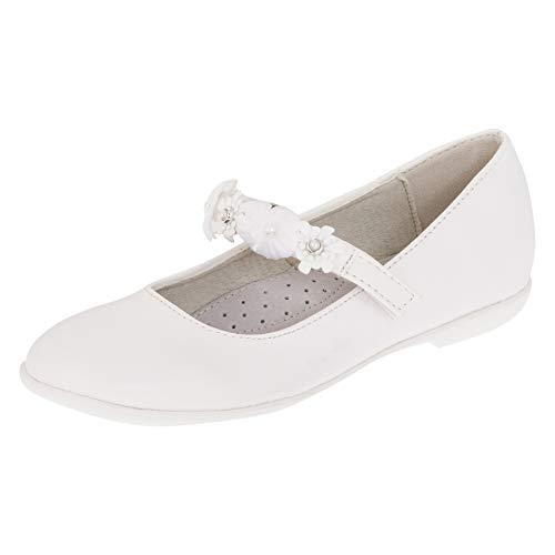 Giardino Doro Edle Festliche Kinder Mädchen Schuhe Ballerinas mit Leder Innen Sohle M516ws Weiß 38 EU