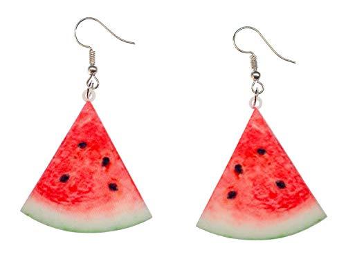 Miniblings Melonen Wassermelonen Dreieck Ohrringe - Handmade Modeschmuck I Sommer Party Ferien Urlaub Obst - Ohrhänger Ohrschmuck versilbert