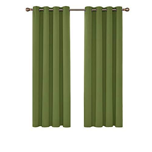 Deconovo Cortinas de Salon Opacas para Ventanas Moderna con Ojales 2 Piezas 117 x 183 cm Verde