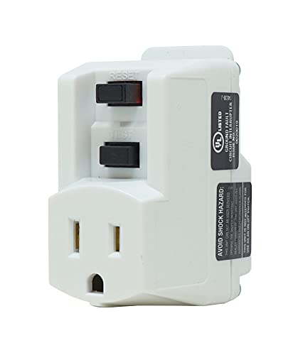 First Alert Single Outlet GFCI Adapter, Surge Protection Plus ShockShield, 120-volt, 15-Amp, 1800-Watts, for Indoor Use with Manual Reset, White