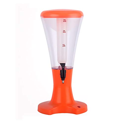 DAGCOT Dispensador de Torre de Cerveza 3L Dispensador de Bebidas de Torre de Cerveza Frío con Tubo de Hielo, Luces LED y Grifo para la Barra de la Fiesta de cumpleaños, Naranja