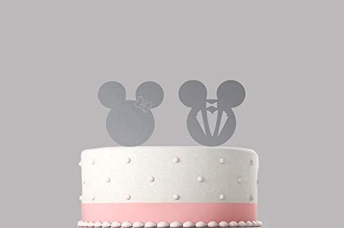 Decoración para tarta de boda de Mickey y Minnie con novio y novia, acrílico, disponible en varios colores
