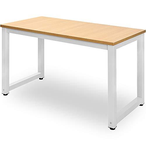 Jenki Computertisch Schreibtische Bürotisch Arbeitstisch PC-Tisch Einfach zu montierender Schreibtisch für das Schlafzimmer im Büro L:120cmx D:60cm x H:75cm weiß+ Schwarz
