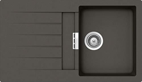 SCHOCK Küchenspüle 86 x 50 cm Primus D-100 Asphalt - CRISTALITE graue Granitspüle ab 45 cm Unterschrank-Breite