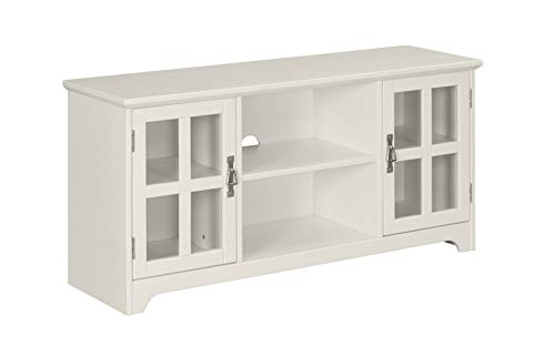 Amazon Brand – Ravenna Home Peterson Modern Glass Cabinet Storage TV Media Entertainment Stand, 46'W, White