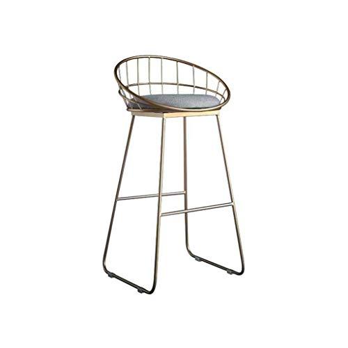 WRISCG Taburete de Bar Simple Mostrador de Metal Sillas Altas Respaldo Moderno Reposapiés Silla de Desayuno Taburetes de recepción Mesa de Comedor Europa del Norte Carga de Hierro 100 kg (Color: Do