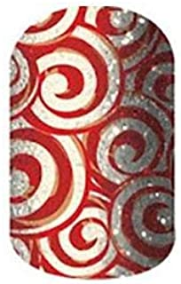 Jamberry Nail Wraps - November 2014 Host Exclusive - Full Sheet - Rust Red & Silver Swirls