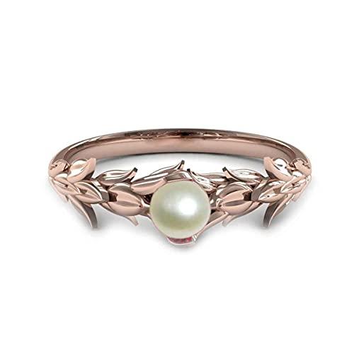 55Carat Elige tu color de piedra preciosa hoja de oro rosa de 18 quilates anillo de compromiso de propuesta nupcial para mujer, joyería de moda en talla H-X, Piedra preciosa., Pearl,