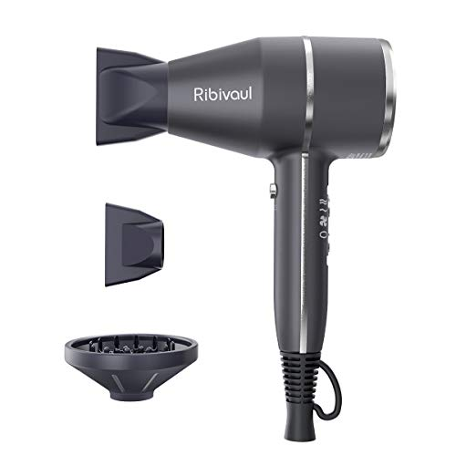 Ribivaul Hair Dryer with Diffuser and Concentrator, Professional Ionic Travel 1700W HairDryers Sale,...