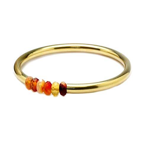 JewelryGift Carnelian Red Quartz Yellow Gemstone Bangle 18k Gold Plated Fashion Jewelry Bracelets for Girls 2.12