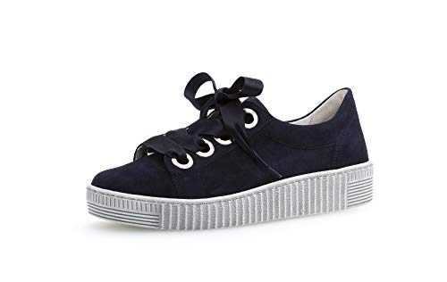 Gabor Damen Sneaker, Frauen Low-Top Sneaker,Optifit- Wechselfußbett, schnürschuh Plateau-Sohle Damen Frauen Lady,Bluette,38.5 EU / 5.5 UK