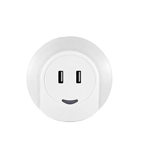 Luz nocturna LED de FREEUP, enchufe con cargador USB de 3,1 A, luz de enchufe con sensor crepuscular, encendido y apagado automático, luz cálida para dormitorio, luz de orientación, marcha