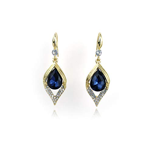 Pendientes para mujer de plata 925, con forma de gota azul
