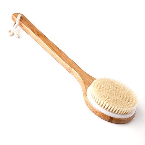Ithyes Brosse pour le corps - Brosse à dos - Brosse de bain en bambou - Manche long - Poils naturels - Massage exfoliant - Améliore la circulation sanguine et la cellulite