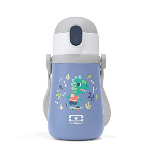 monbento - Brotdose Einhorn Kinder mit Trennwand - Bento Box Kids mit Fächer - Individuell Gestaltbar - Snack Box (Isotherme Flasche Kinder, blau Dino)