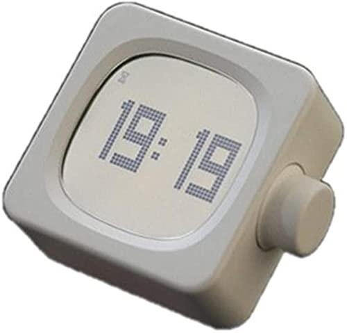 LFERRTYZ Reloj Despertador Digital, Despertador Cuadrado, Dormitorio de cabecera silencioso, Simple, Multifuncional, para Hombres y Mujeres, portátil, Blanco