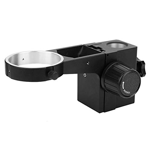 Black Aluminum Alloy Stereo Microscope Focusing Bracket Rack Accessory, Industrial Microscope Stand Parts Focused Frame Head Holder for Repair Maintaining