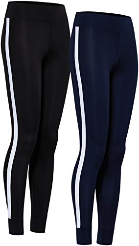 Marca Amazon - AURIQUE Leggings De Deporte Con Banda Lateral Mujer, Multicolor (Black & Navy), 38, Label:S