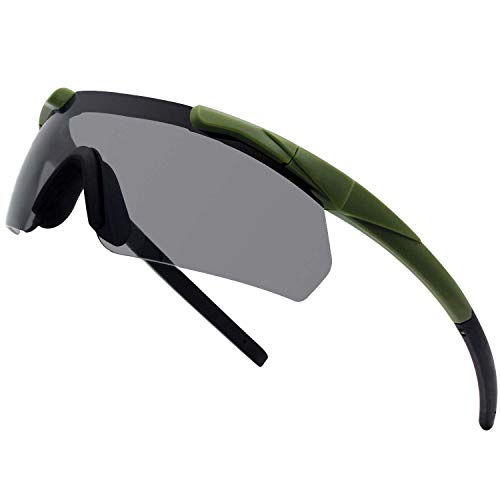 SPOSUNE Tactical Glasses with 3 Interchangeable Lenses, High Impact resistance Shooting Goggles , Unisex Safety Eyewear - Anti fog UV400 Eye Protection Sunglasses for Hunting Cycling Driving Airsoft