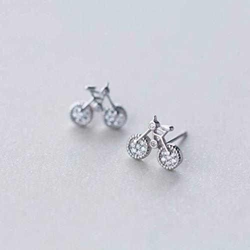 Katylen S925 Silber Ohrringe Weiblichen Natürlichen Stil Süße Diamant Fahrrad Ohrringe Ohrringe Ohrschmuck, Photo Color, 925 Silver
