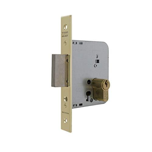 Tesa Assa Abloy 203150HL Cerradura De Embutir Para Puertas De Madera Con Cilindro Latonado Entrada 50 mm, Frente Cuadrado 2031