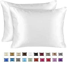 ShopBedding Luxury Satin Pillowcase for Hair – Standard Satin Pillowcase with Zipper, White (Pillowcase Set of 2) – Blissford