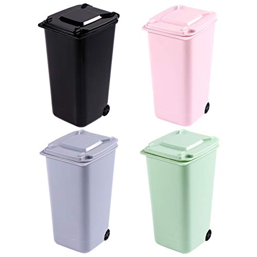 TOYMYTOY Office Trash Can, Desktop Mini Trash Bin, Garbage Bin Set Pencil Cup Holder with Lips & Wheels(4PCS)