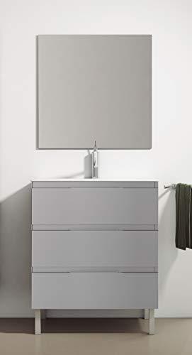 Juego de Mueble de Baño Modelo Austria Porcelana, Conjunto formado por Mueble de Baño Lacado en Gris Ancho 70cm, Lavabo de Porcelana y Espejo a Juego
