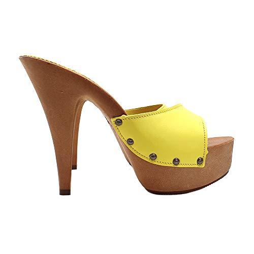 Kiara Shoes Sexy Clogs aus LEDER GELB - K93001 GIALLO PELLE