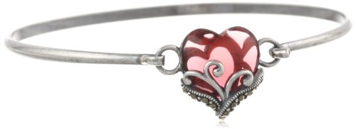 925 Sterling Silver Oxidized Celtic Filigree Bangle Bracelet with Genuine Marcasite and January Birthstone Garnet Colored Glass Heart, 7.25'