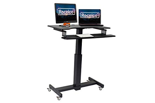 """Rocelco 40"""" Height Adjustable Mobile Standing Desk - Sit Stand Home Office School Computer Workstation Riser - Dual Monitor Keyboard Tray Gas Spring Assist - Black (R MSD-40)"""