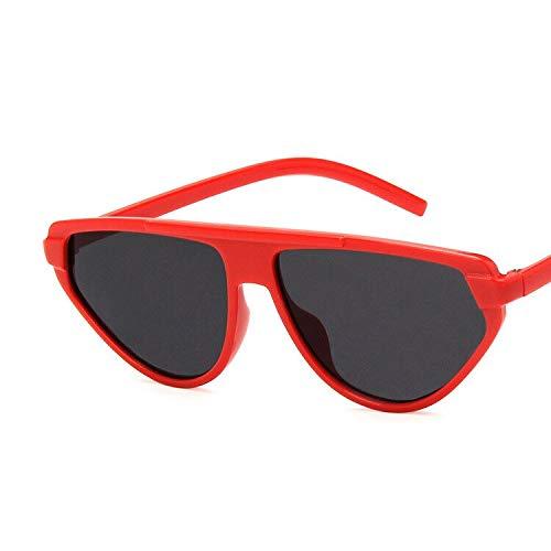 NJJX Gafas De Sol Ojo De Gato Triángulo Vintage Para Mujer Diseñador De La Marca Pequeño Marco De Plástico Sombra Retro Versátil Lunette De Soleil Femme Rojo