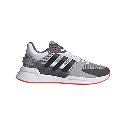 adidas Men's Run90s Running Shoe, Grey/Black/Solar Red, 10 M US