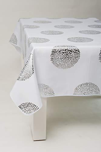 L'Harmonie du Décor - Tovaglia da tavolo in poliestere, con motivo stampato, 240 x 150 cm, colore: Argento e Bianco