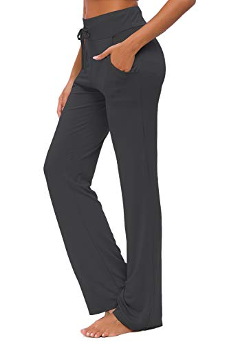 Womens Yoga Pants with Pockets Straight-Leg Loose Comfy Modal Drawstring Lounge Running Long Active Casual Sweatpants (Black, XL)