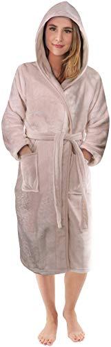 NY Threads Bademantel Damen mit Kapuze - Flanell Fleece Saunamantel - Weichem Kuschelfleece Kapuzenbademantel für Frauen (Taupe, Small)