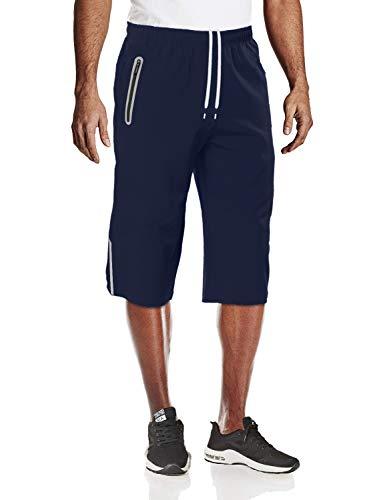 TACVASEN Jogging Shorts Herren Sport Trainingshose Kurz Campinghose Atmungsaktive Wandern Shorts Herren Sommer Outdoor Shorts Schnelltrocknende Freizeithose Denim 3/4 Shorts Blau Blue